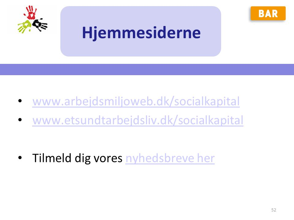 Hjemmesiderne www.arbejdsmiljoweb.dk/socialkapital