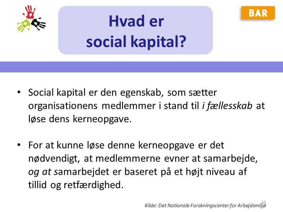 Hvad er social kapital Social kapital er den egenskab, som sætter organisationens medlemmer i stand til i fællesskab at løse dens kerneopgave.