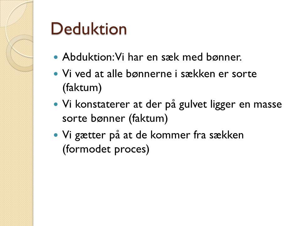 Deduktion Abduktion: Vi har en sæk med bønner.