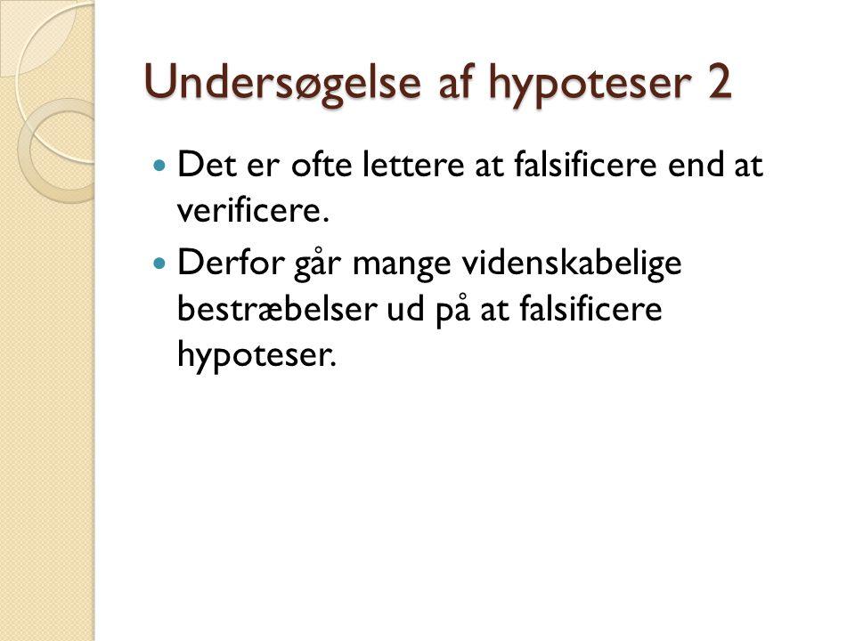 Undersøgelse af hypoteser 2