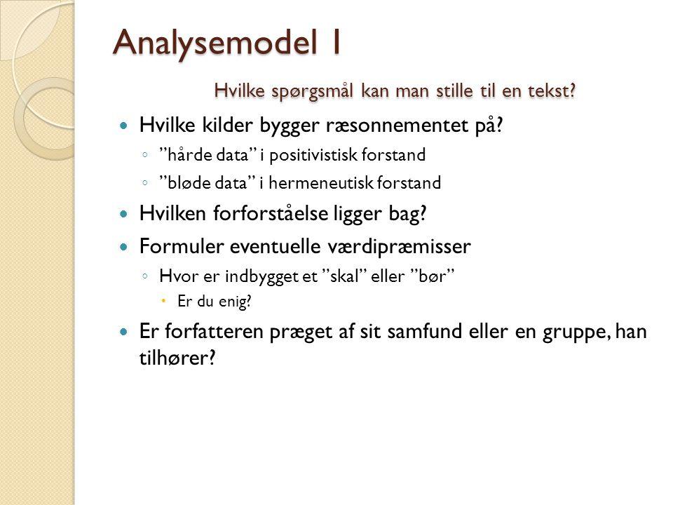 Analysemodel 1 Hvilke spørgsmål kan man stille til en tekst
