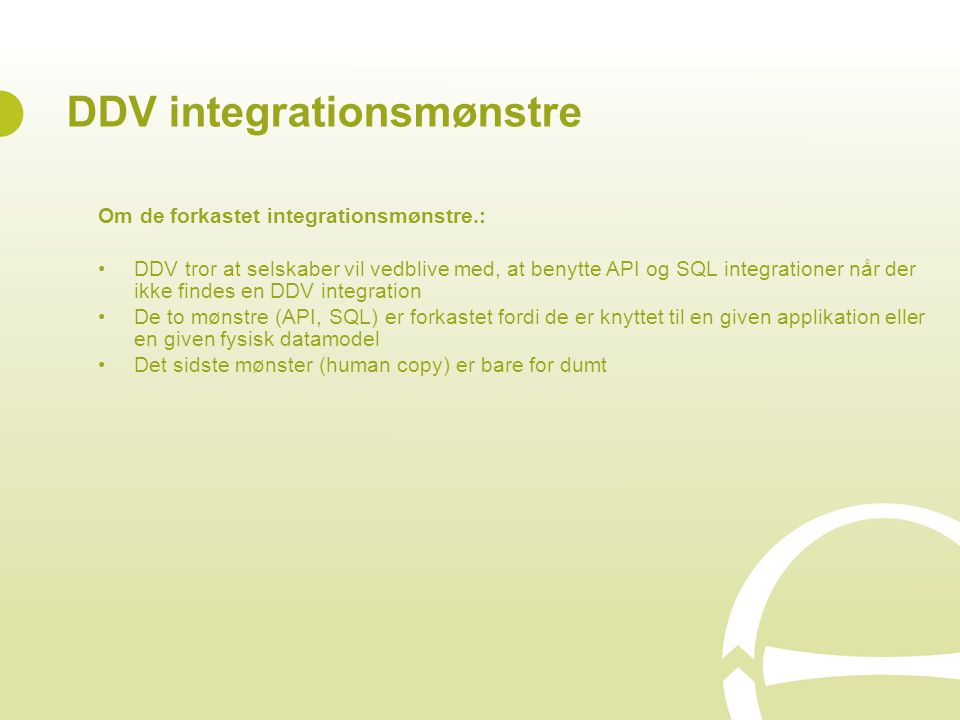 DDV integrationsmønstre