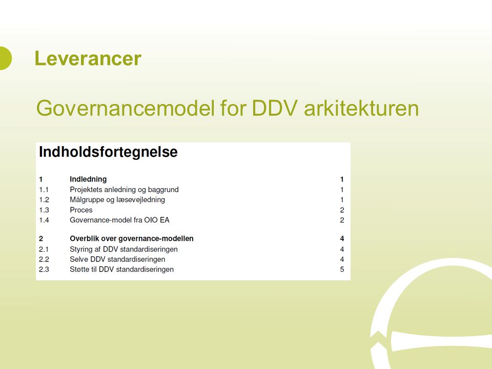 Governancemodel for DDV arkitekturen