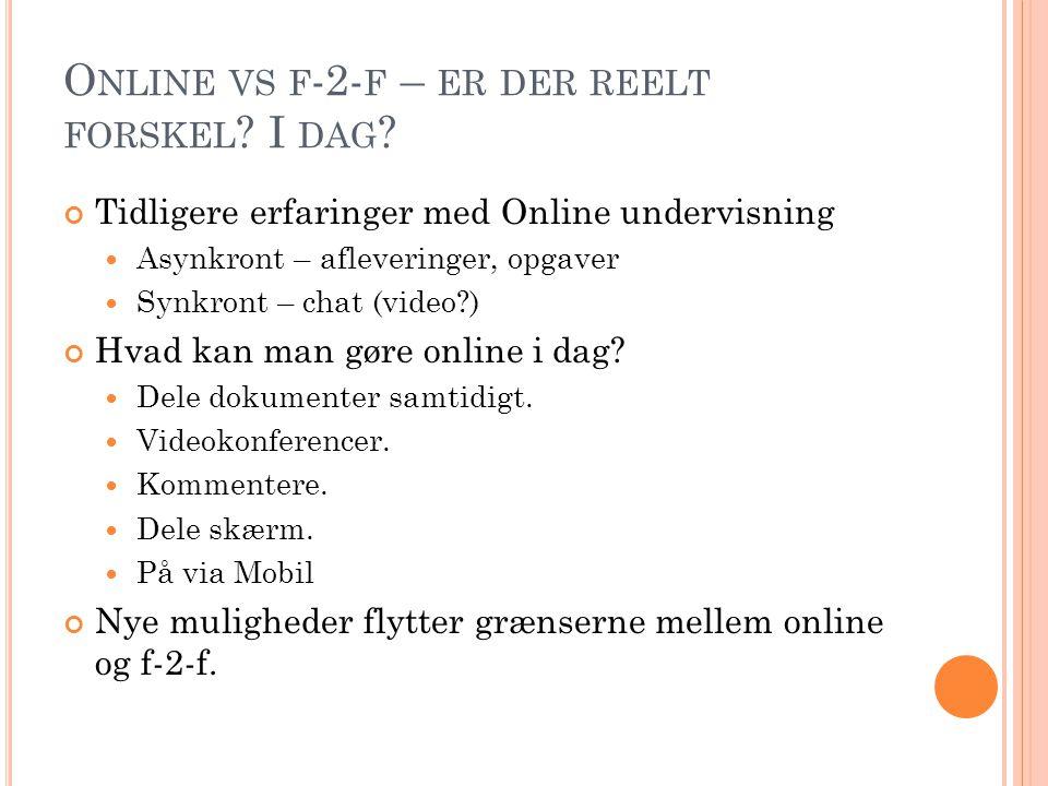 Online vs f-2-f – er der reelt forskel I dag