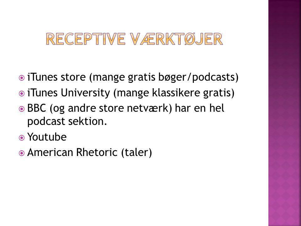 Receptive værktøjer iTunes store (mange gratis bøger/podcasts)