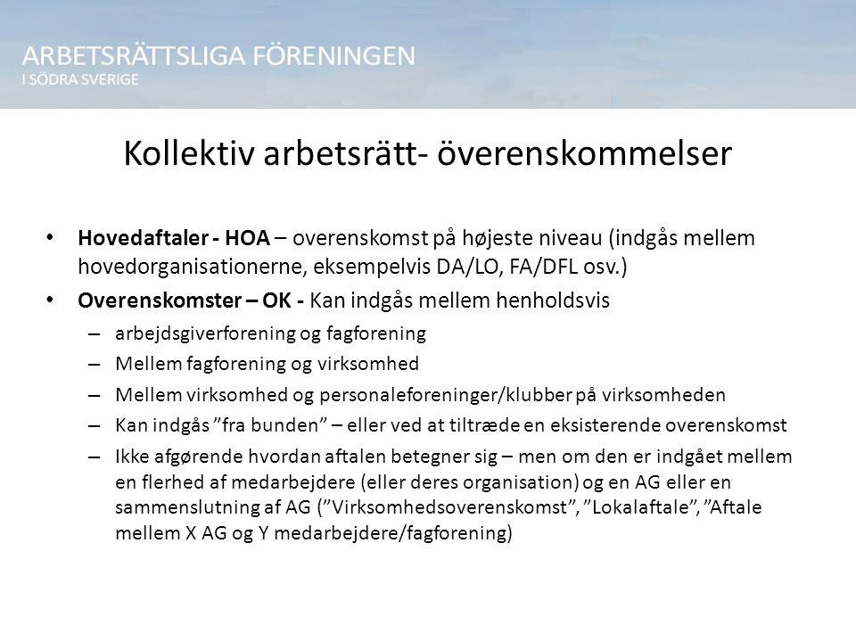 Kollektiv arbetsrätt- överenskommelser