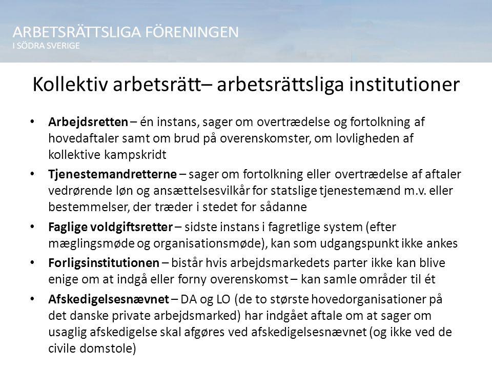 Kollektiv arbetsrätt– arbetsrättsliga institutioner