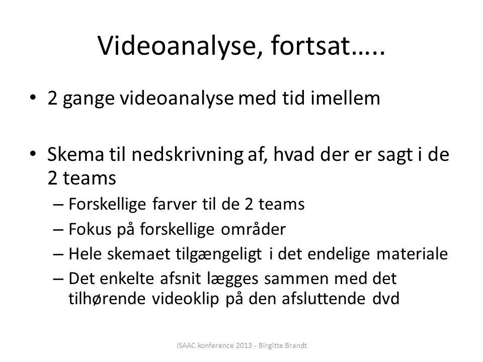 Videoanalyse, fortsat…..