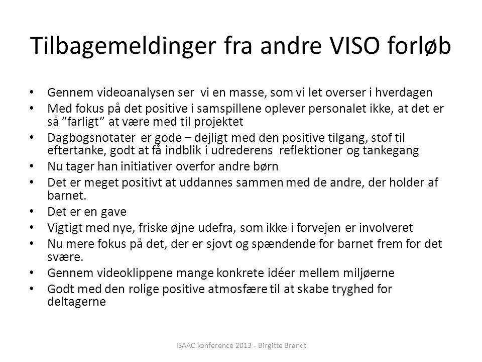 Tilbagemeldinger fra andre VISO forløb