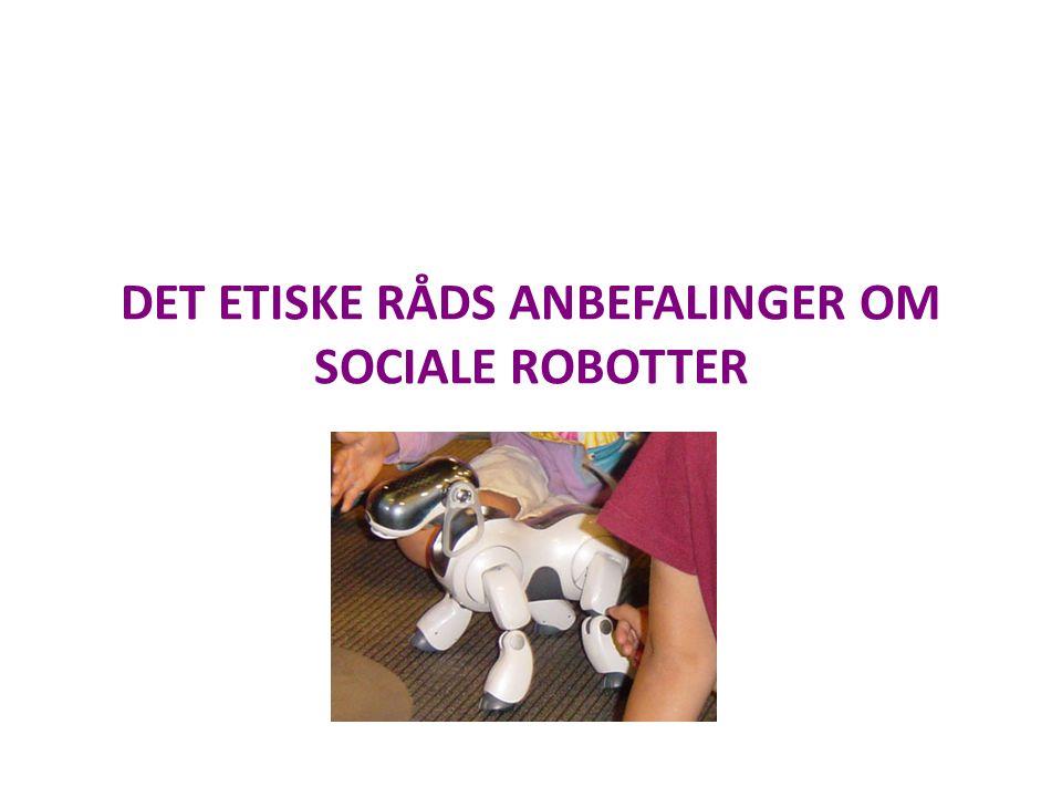 DET ETISKE RÅDS ANBEFALINGER OM SOCIALE ROBOTTER
