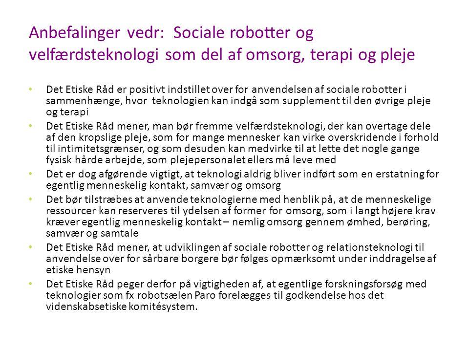 Anbefalinger vedr: Sociale robotter og velfærdsteknologi som del af omsorg, terapi og pleje