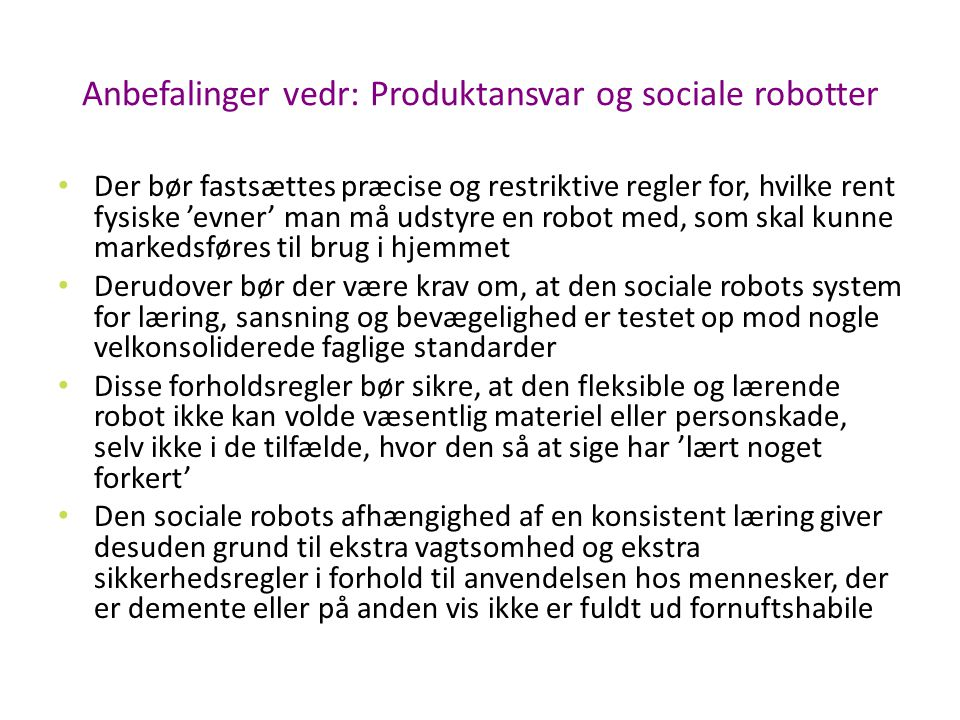 Anbefalinger vedr: Produktansvar og sociale robotter