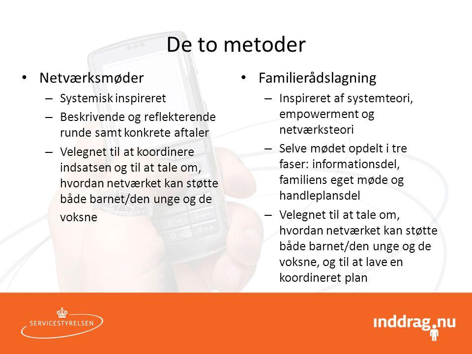 De to metoder Netværksmøder Familierådslagning Systemisk inspireret