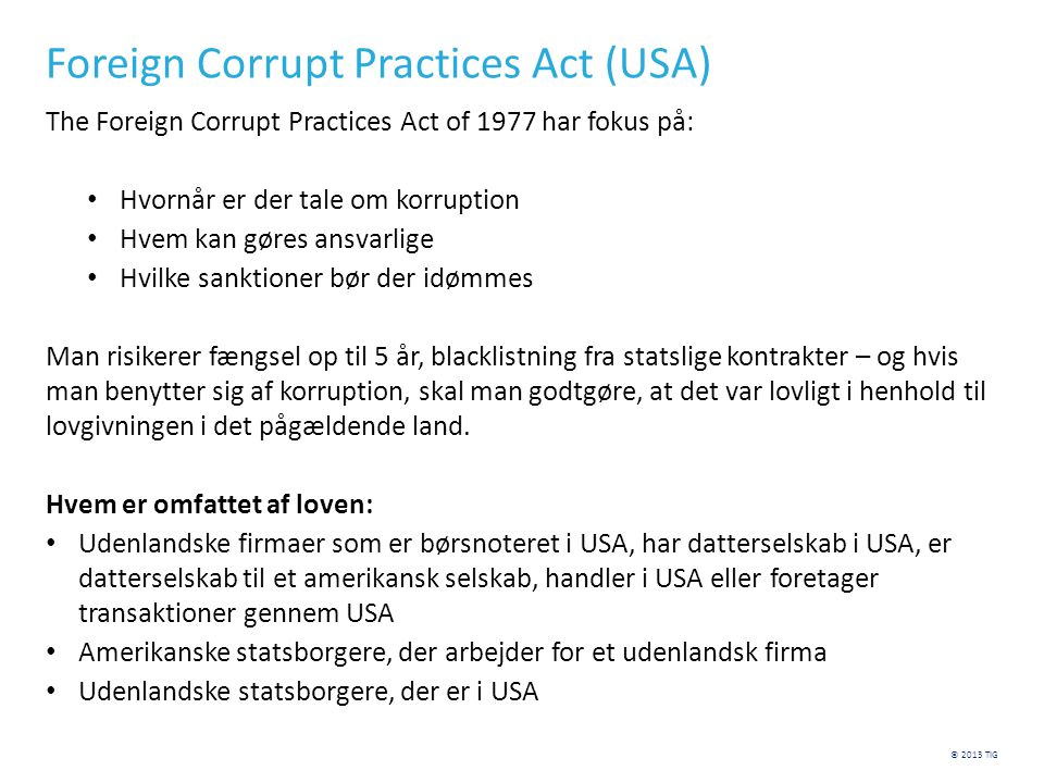 Foreign Corrupt Practices Act (USA)