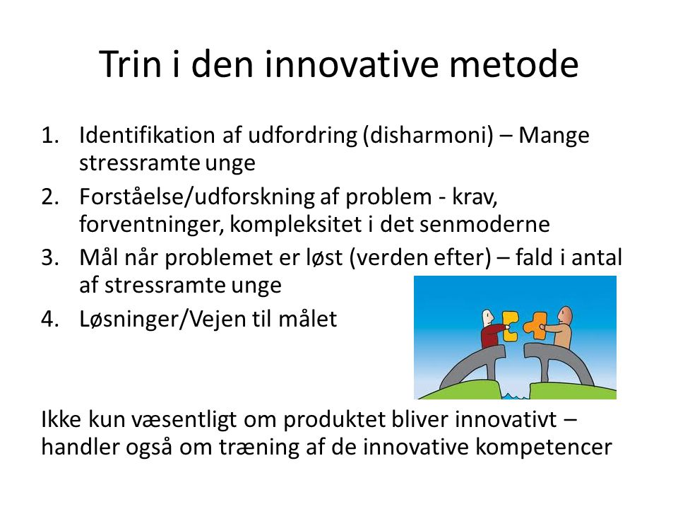 Trin i den innovative metode
