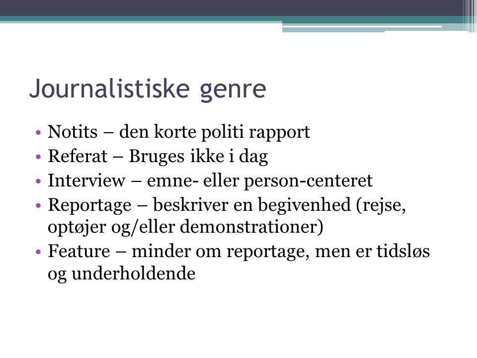 Journalistiske genre Notits – den korte politi rapport