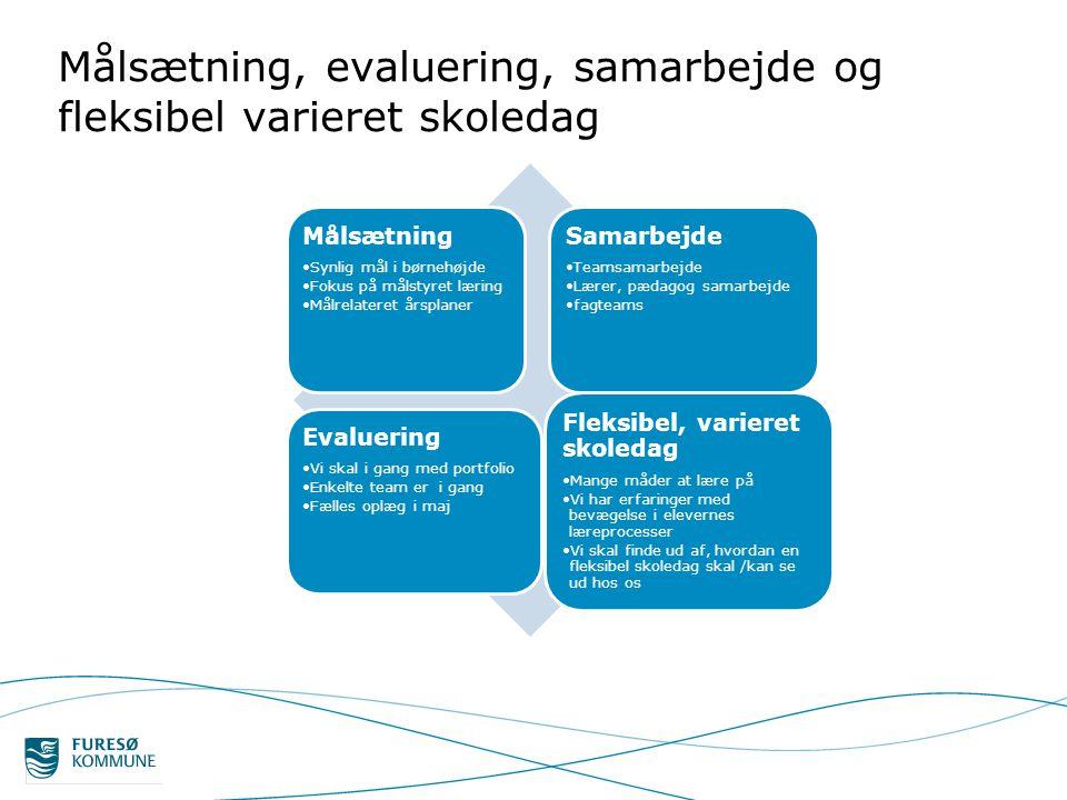 Målsætning, evaluering, samarbejde og fleksibel varieret skoledag
