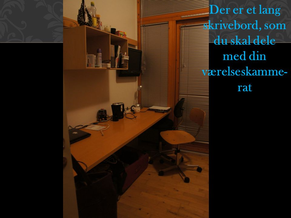 Der er et lang skrivebord, som du skal dele med din værelseskamme-rat