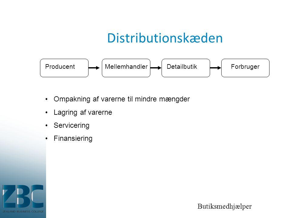 Distributionskæden Ompakning af varerne til mindre mængder