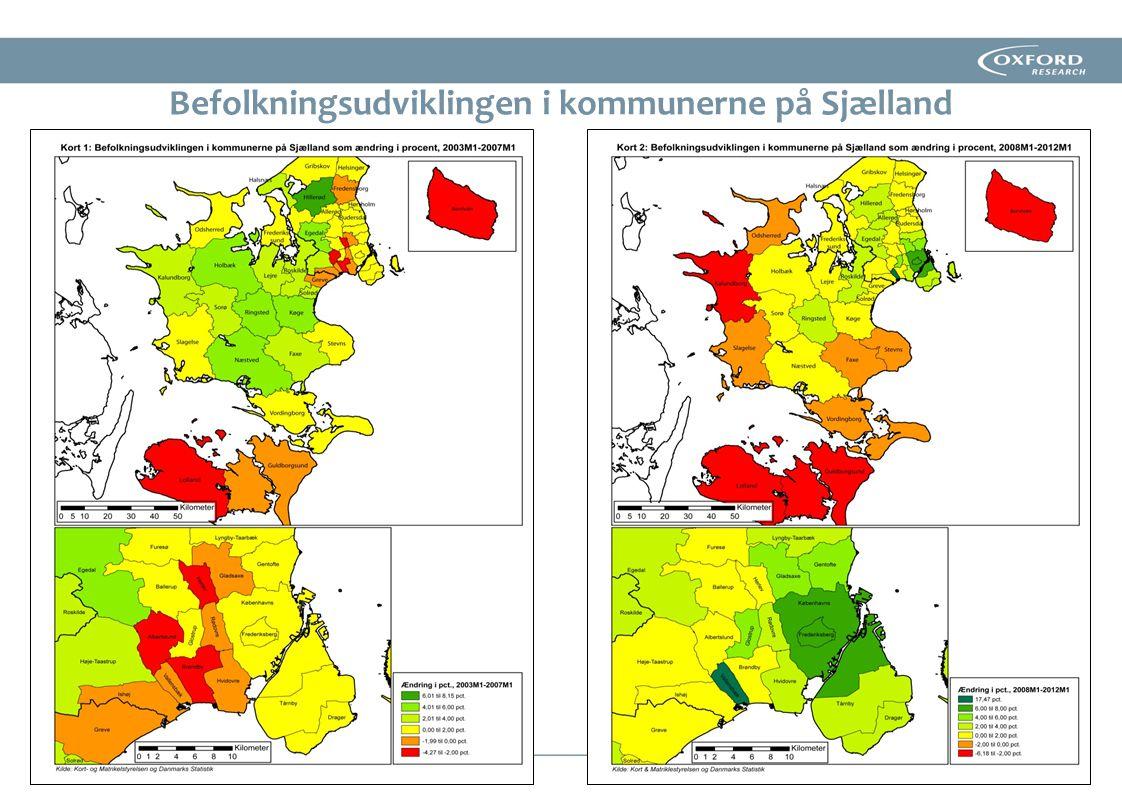 Befolkningsudviklingen i kommunerne på Sjælland