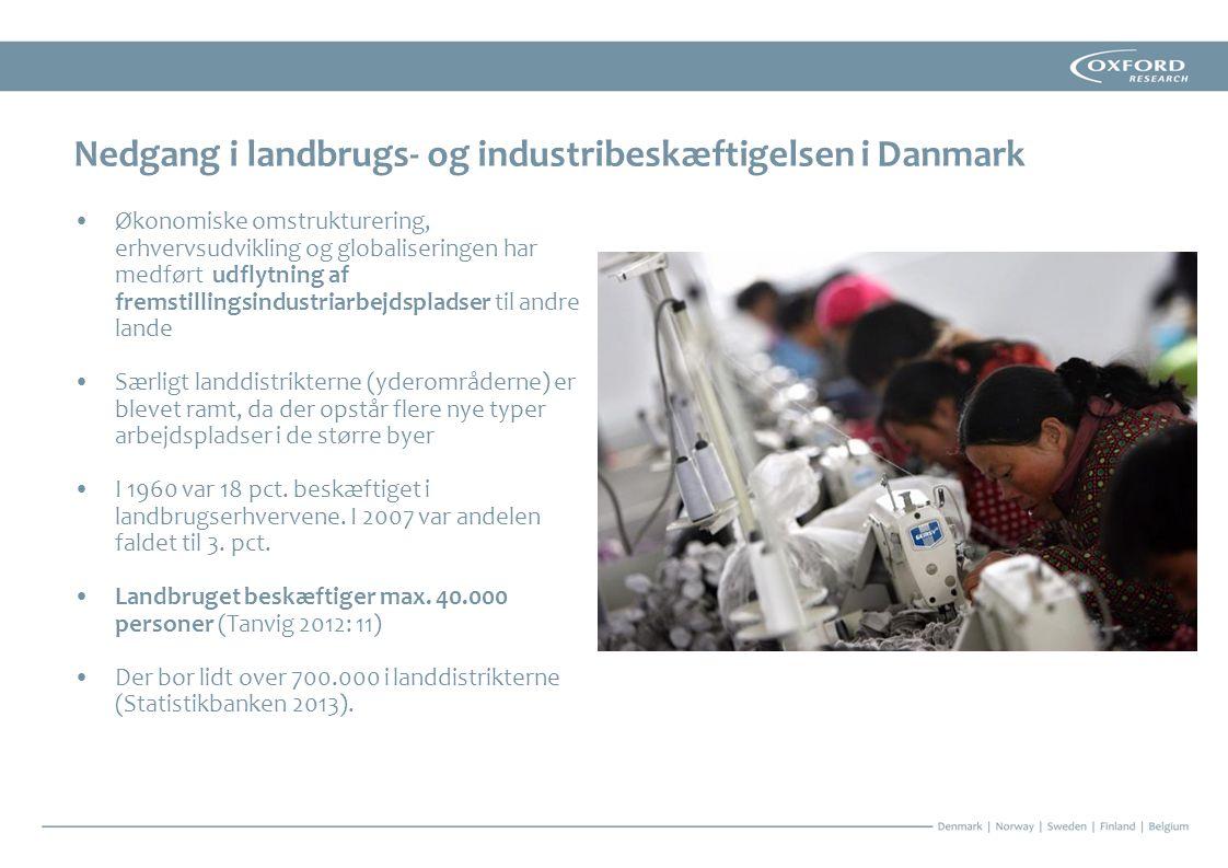 Nedgang i landbrugs- og industribeskæftigelsen i Danmark