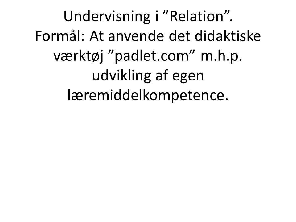 Undervisning i Relation