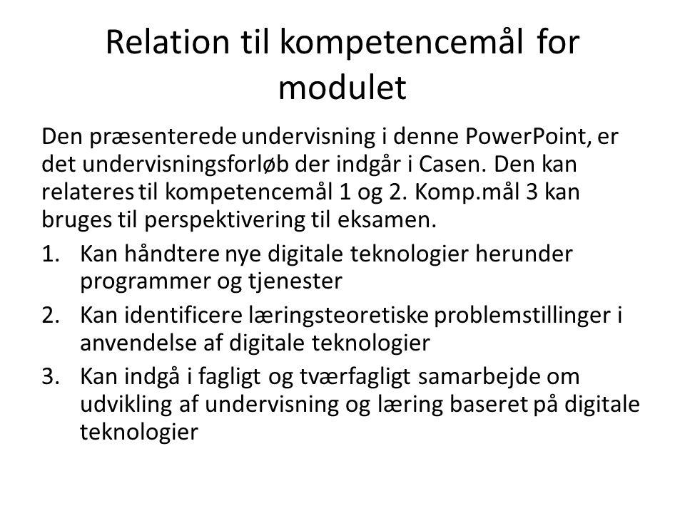 Relation til kompetencemål for modulet