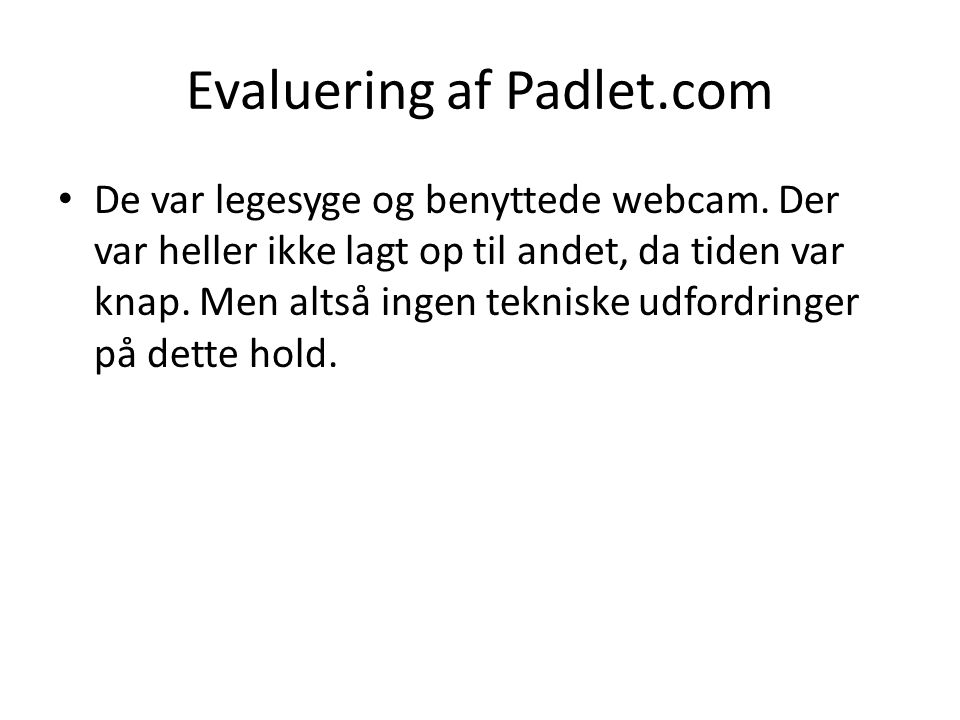 Evaluering af Padlet.com