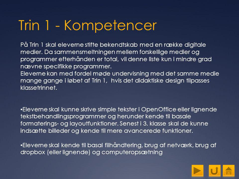 Trin 1 - Kompetencer