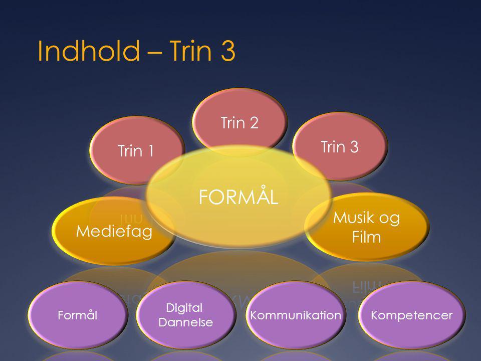 Indhold – Trin 3 FORMÅL Trin 2 Trin 3 Trin 1 Musik og Film Mediefag