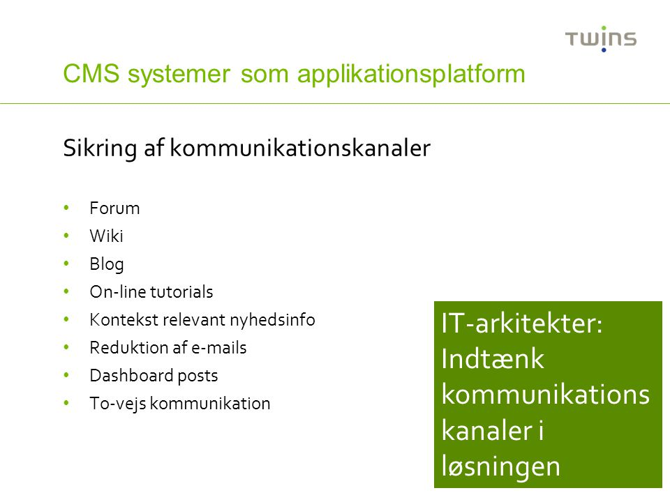 CMS systemer som applikationsplatform