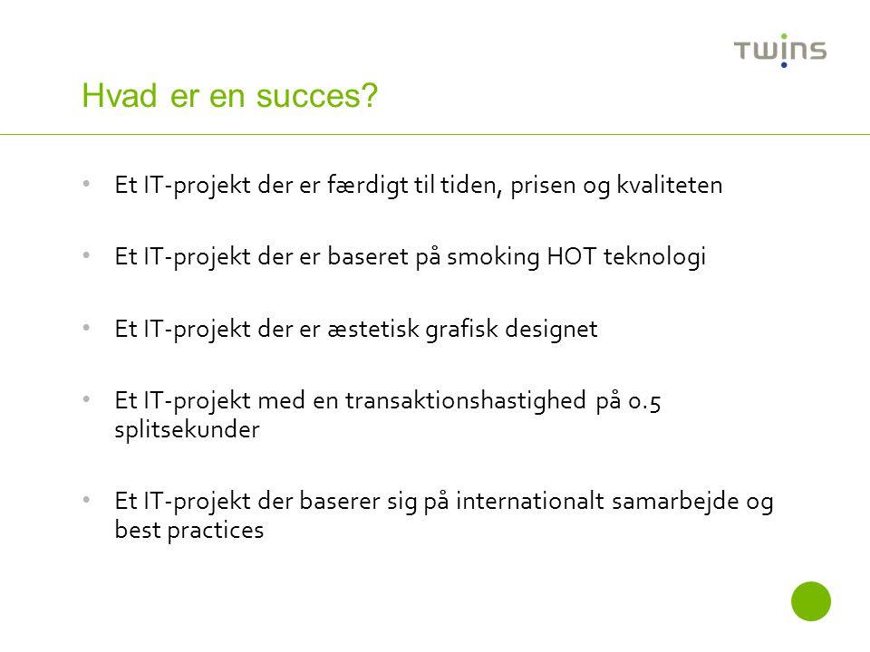 Hvad er en succes Et IT-projekt der er færdigt til tiden, prisen og kvaliteten. Et IT-projekt der er baseret på smoking HOT teknologi.