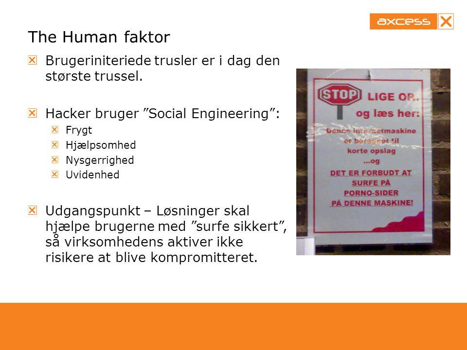 The Human faktor Brugeriniteriede trusler er i dag den største trussel. Hacker bruger Social Engineering :