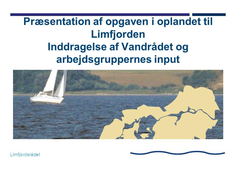 Præsentation af opgaven i oplandet til Limfjorden Inddragelse af Vandrådet og arbejdsgruppernes input