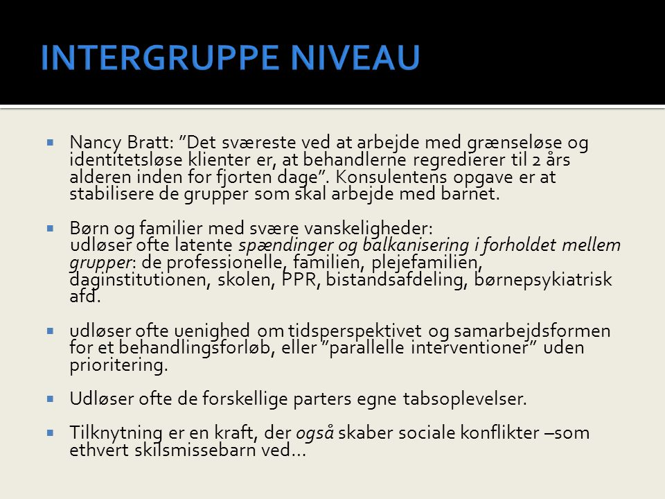 INTERGRUPPE NIVEAU