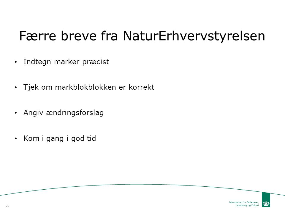 Færre breve fra NaturErhvervstyrelsen