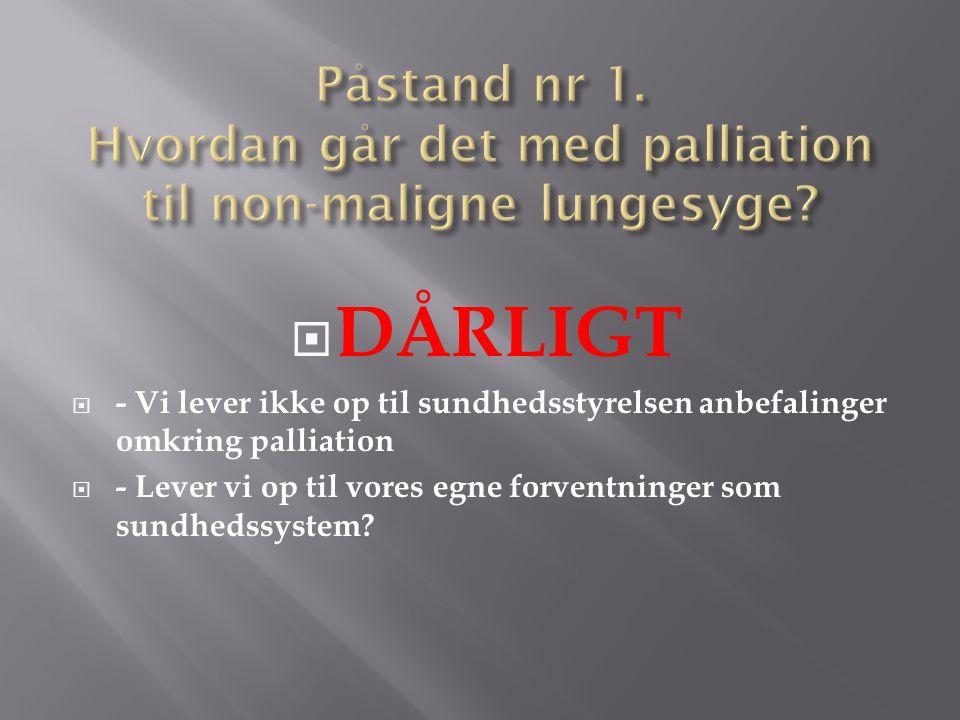 Påstand nr 1. Hvordan går det med palliation til non-maligne lungesyge