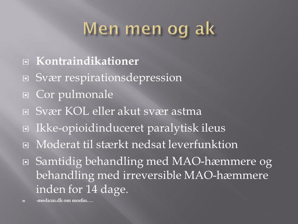 Men men og ak Kontraindikationer Svær respirationsdepression