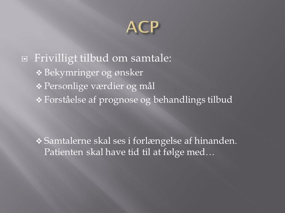 ACP Frivilligt tilbud om samtale: Bekymringer og ønsker