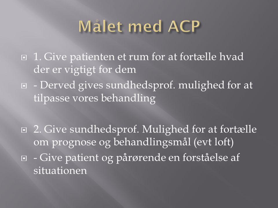 Målet med ACP 1. Give patienten et rum for at fortælle hvad der er vigtigt for dem.