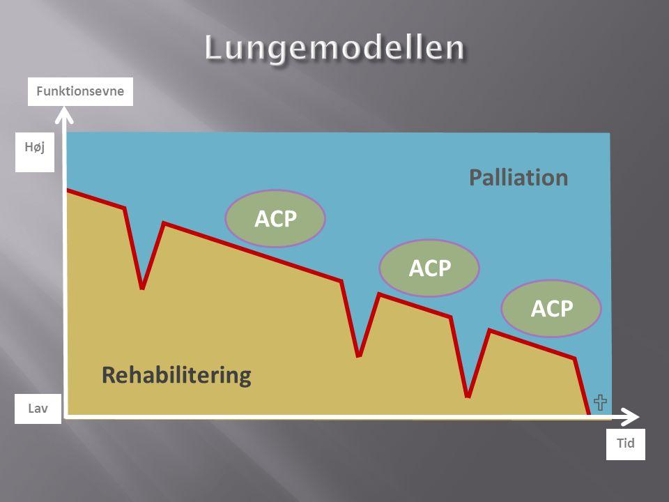 Lungemodellen Palliation ACP Rehabilitering  Funktionsevne Høj Lav