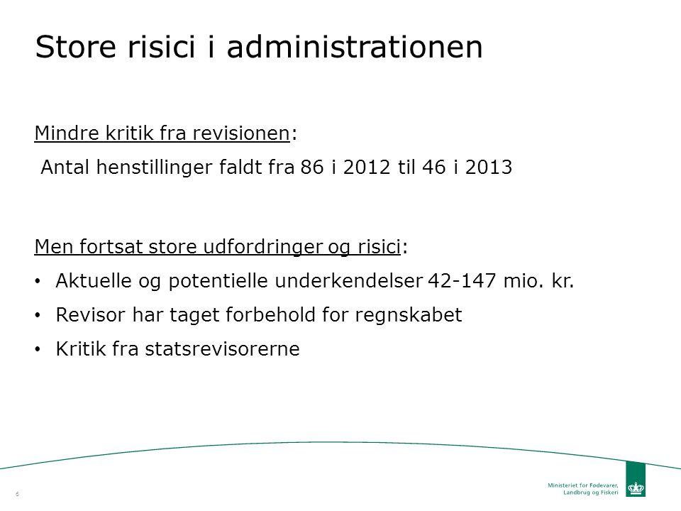 Store risici i administrationen