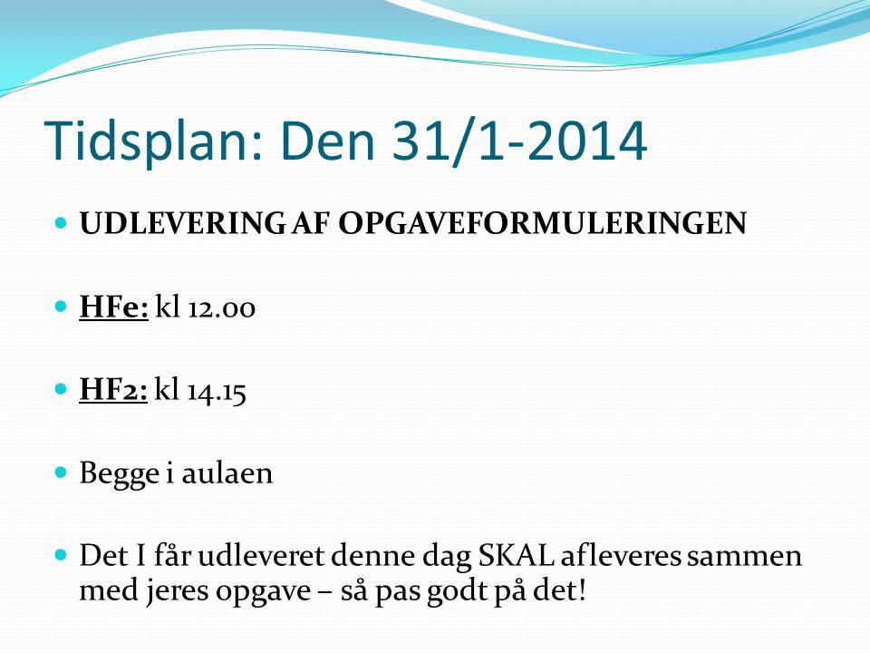 Tidsplan: Den 31/1-2014 UDLEVERING AF OPGAVEFORMULERINGEN