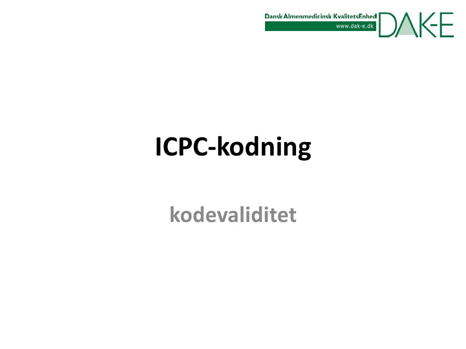 ICPC-kodning kodevaliditet