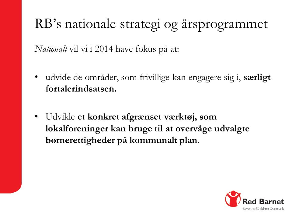 RB's nationale strategi og årsprogrammet