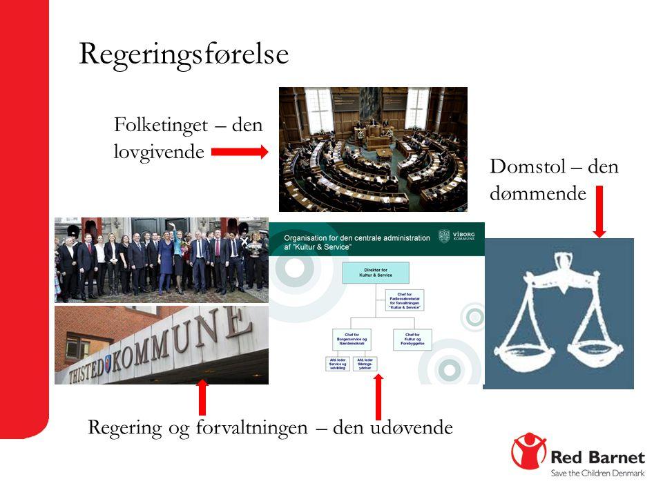 Regeringsførelse Folketinget – den lovgivende Domstol – den dømmende