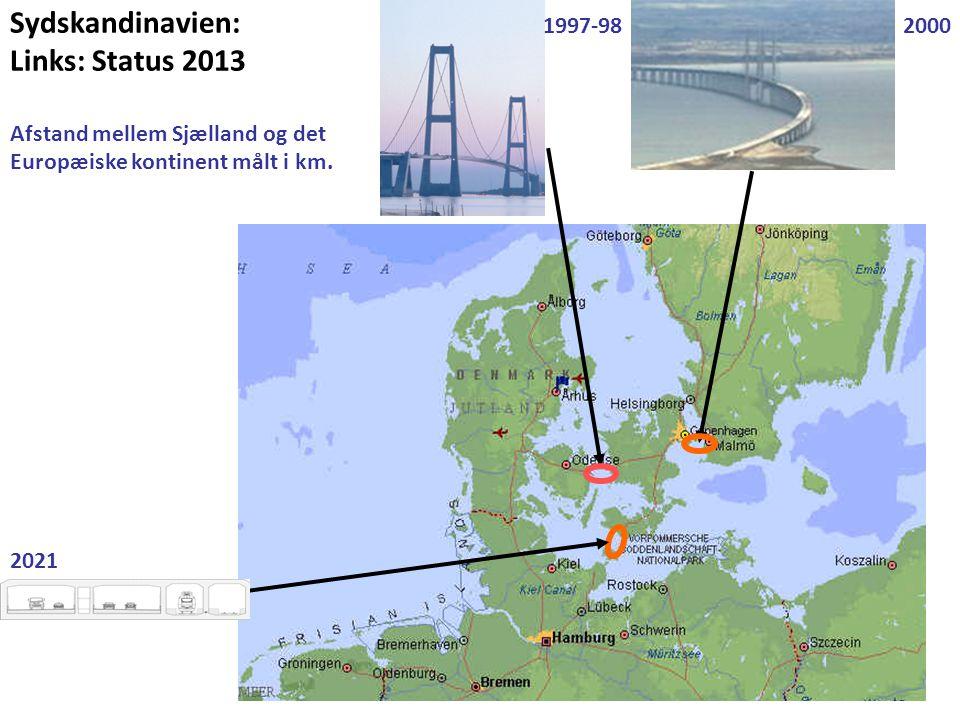 Sydskandinavien: Links: Status 2013 Afstand mellem Sjælland og det