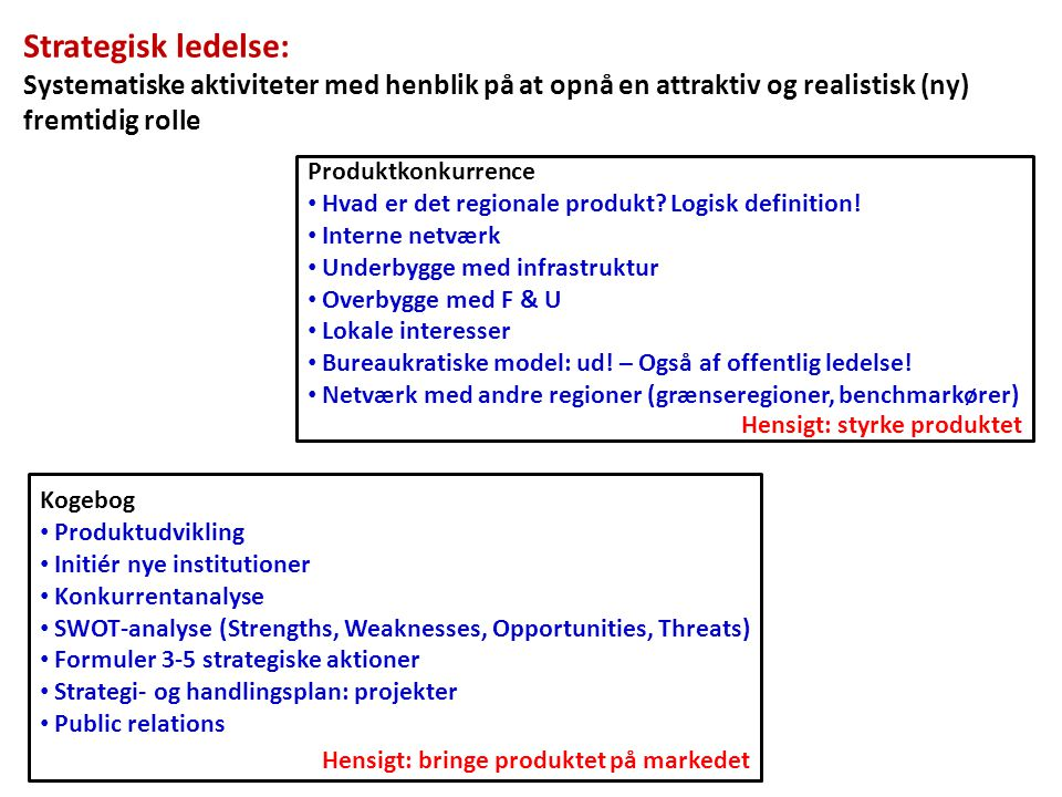 Strategisk ledelse: Systematiske aktiviteter med henblik på at opnå en attraktiv og realistisk (ny) fremtidig rolle.