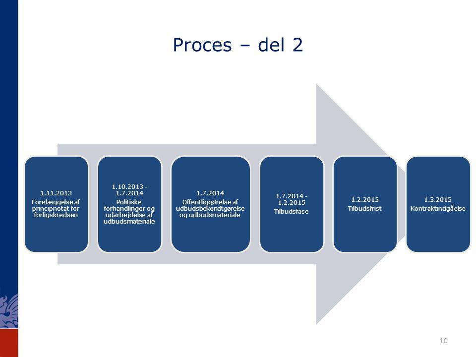 Proces – del 2 1.11.2013. Forelæggelse af principnotat for forligskredsen. 1.10.2013 - 1.7.2014.