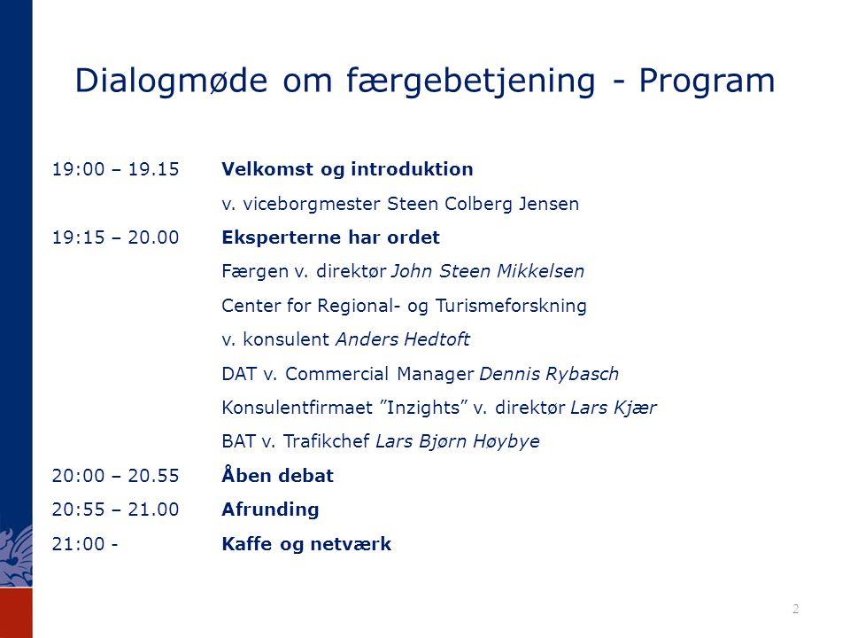 Dialogmøde om færgebetjening - Program